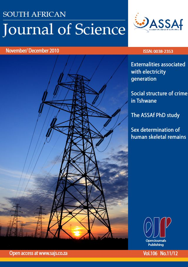 View Vol. 106 No. 11/12 (2010): South African Journal of Science