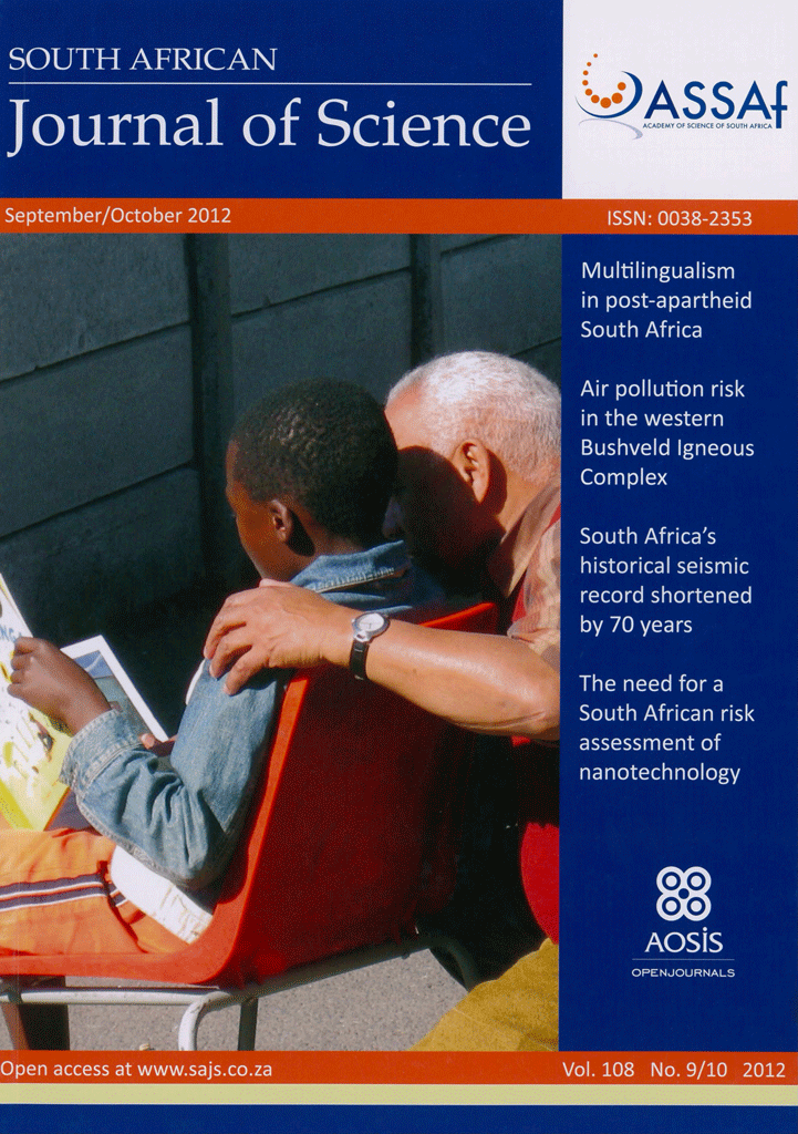 View Vol. 108 No. 9/10 (2012): South African Journal of Science