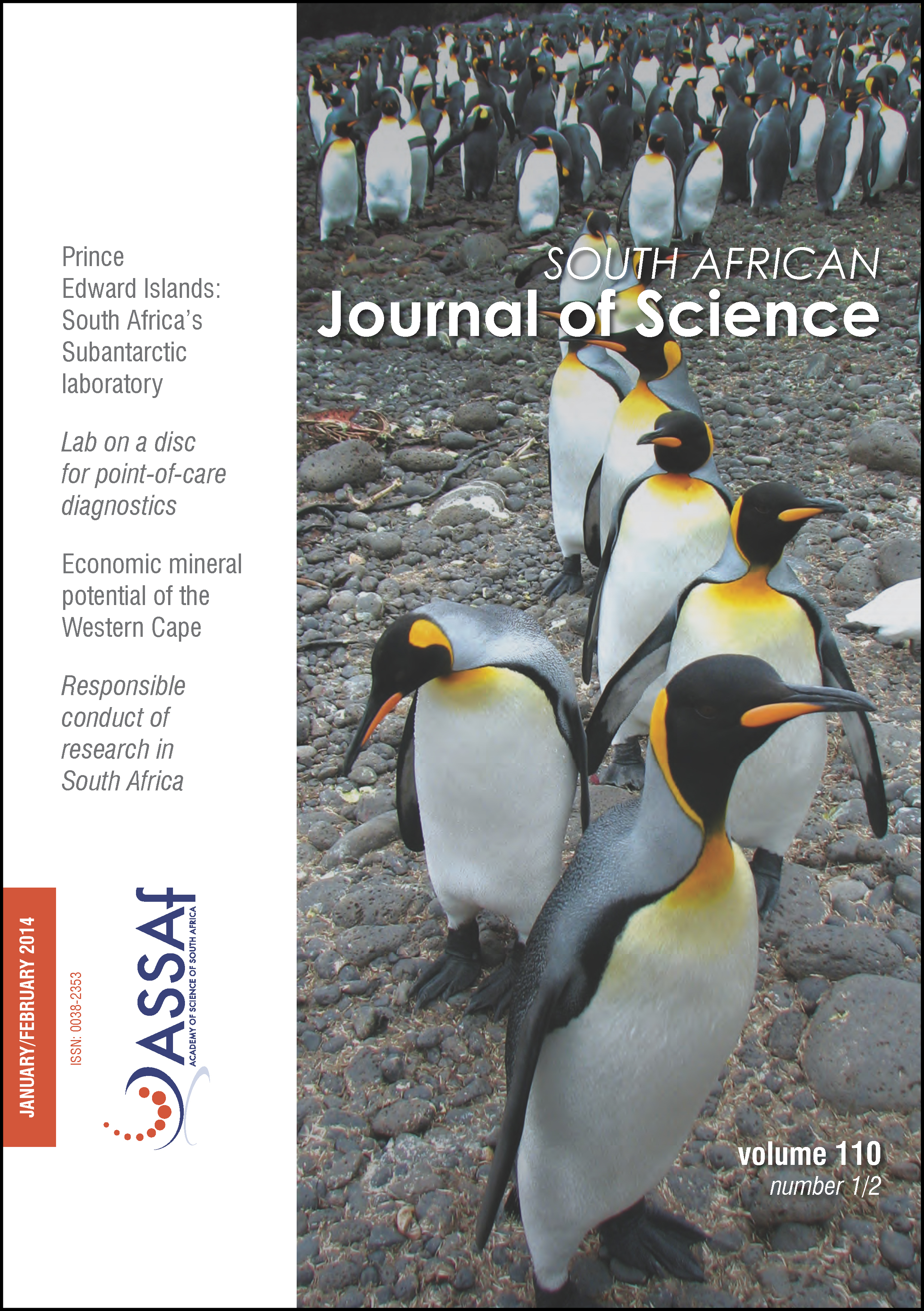 View Vol. 110 No. 1/2 (2014): South African Journal of Science
