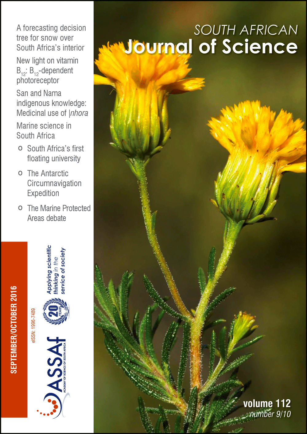 View Vol. 112 No. 9/10 (2016): South African Journal of Science