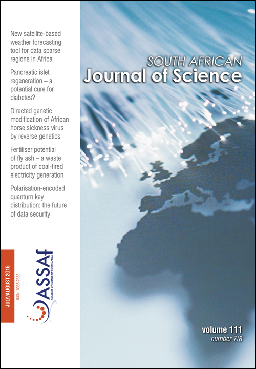 View Vol. 111 No. 7/8 (2015): South African Journal of Science
