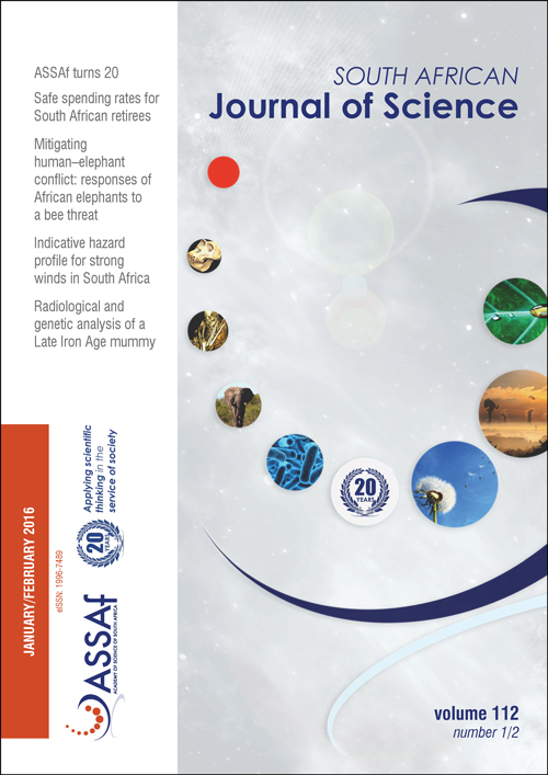 View Vol. 112 No. 1/2 (2016): South African Journal of Science