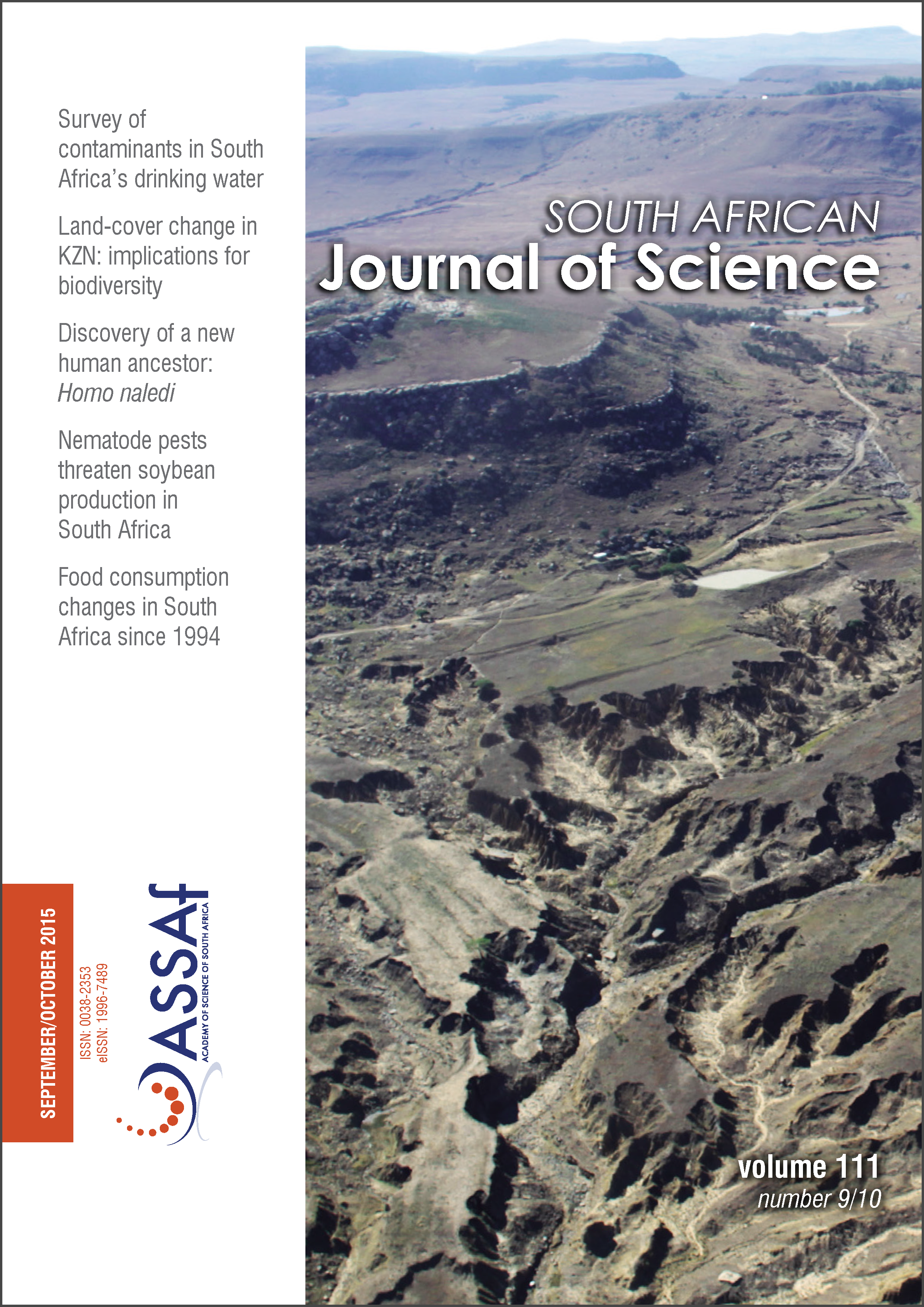 View Vol. 111 No. 9/10 (2015): South African Journal of Science