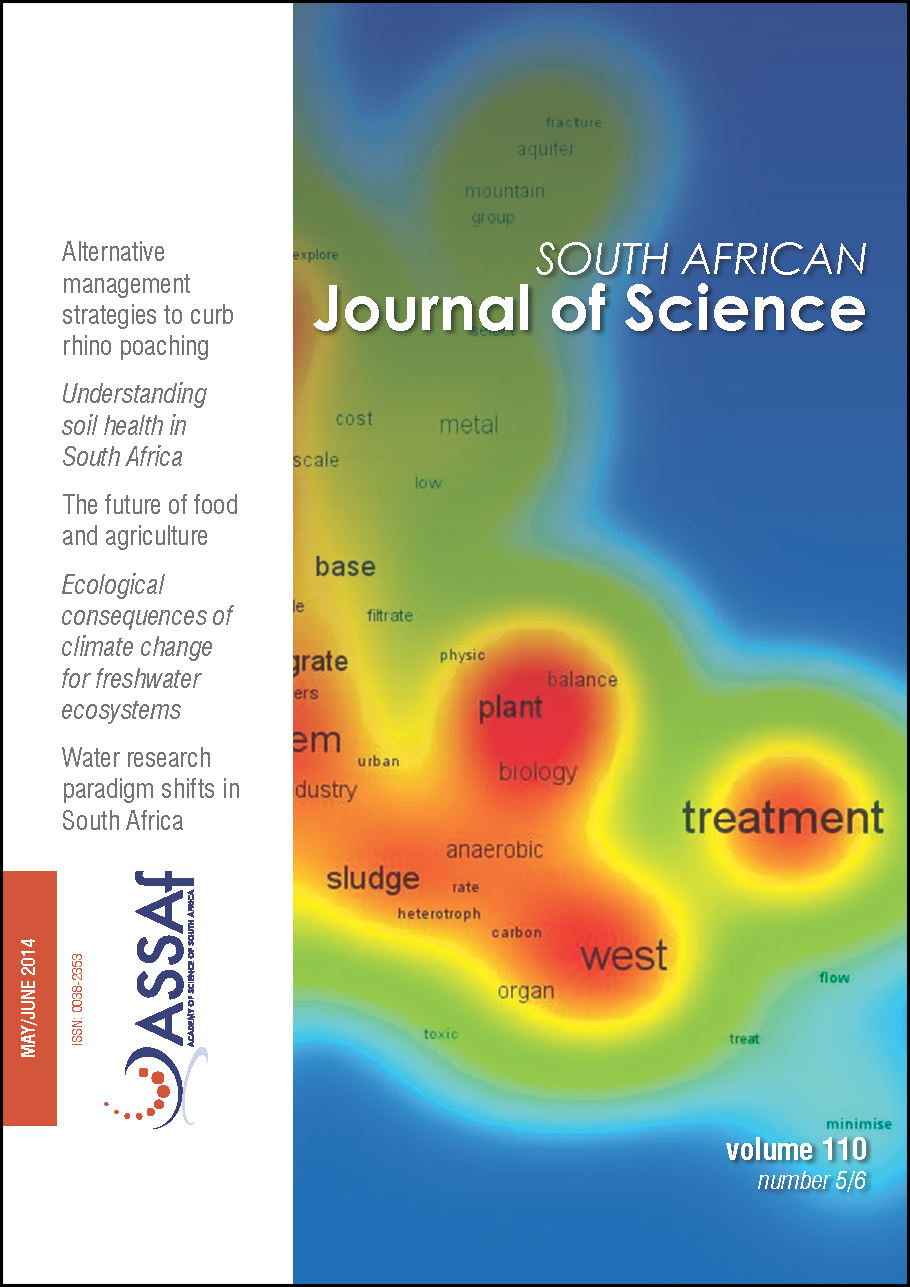 View Vol. 110 No. 5/6 (2014): South African Journal of Science