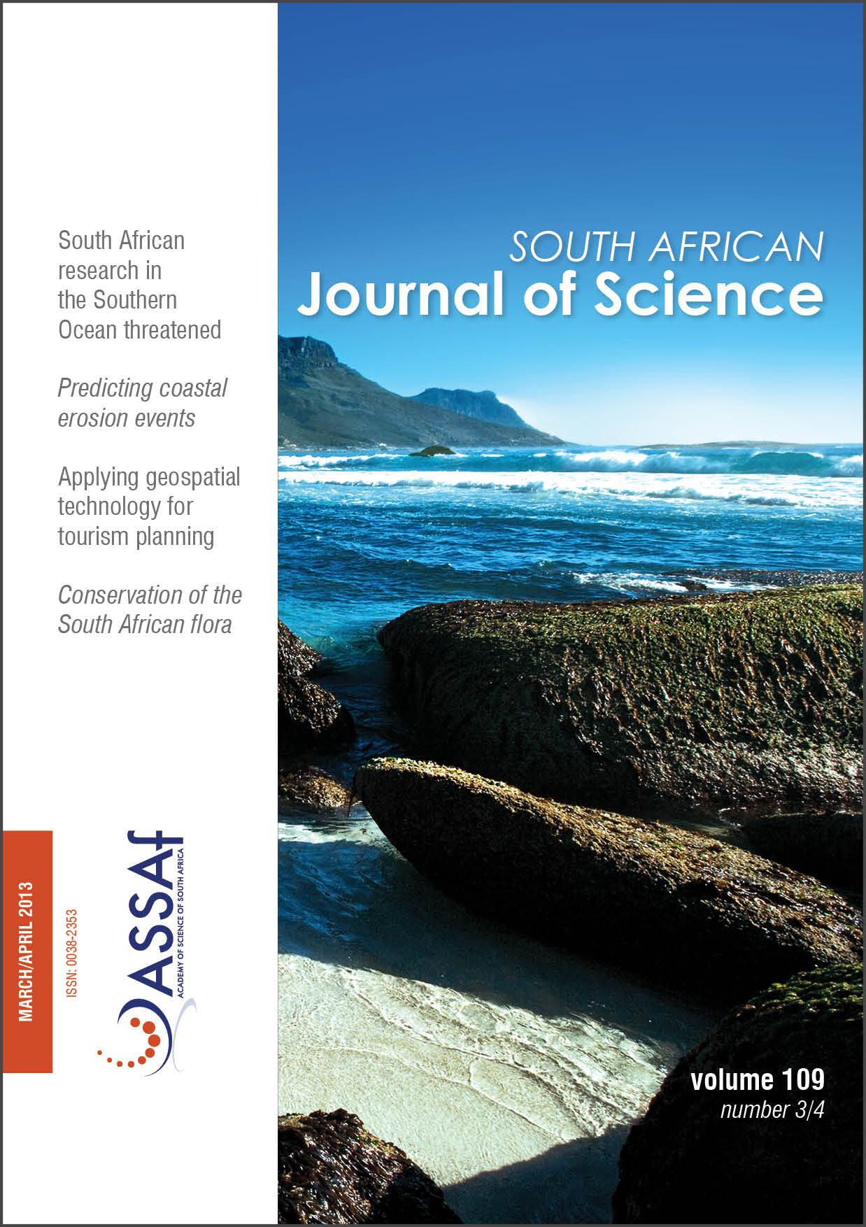 View Vol. 109 No. 3/4 (2013): South African Journal of Science