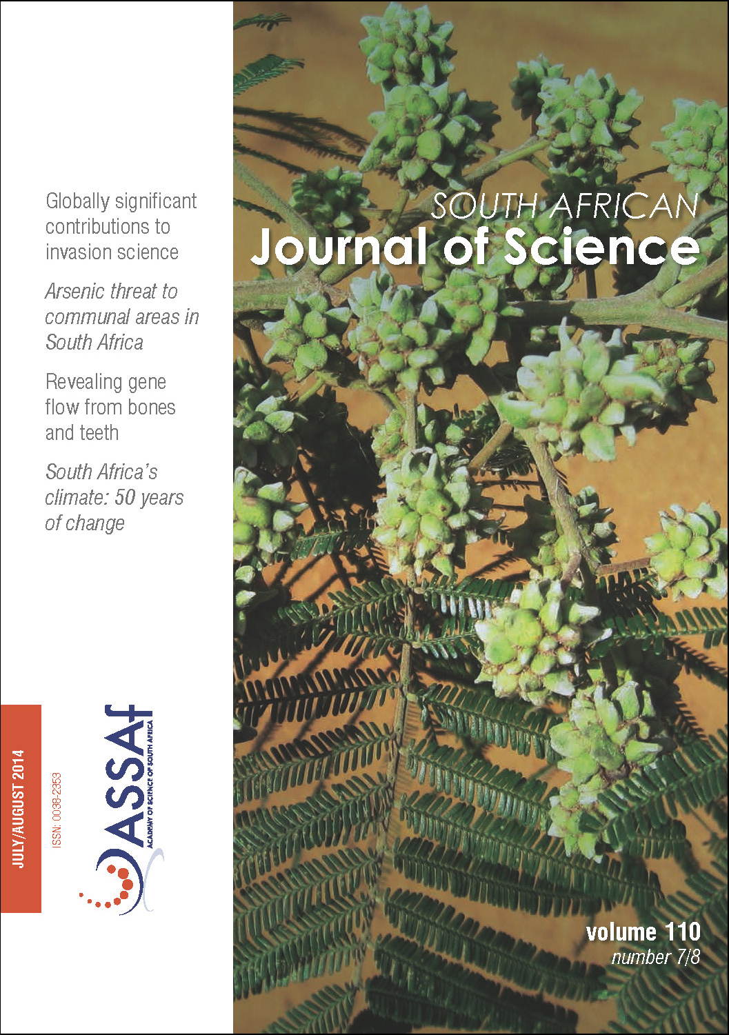 View Vol. 110 No. 7/8 (2014): South African Journal of Science