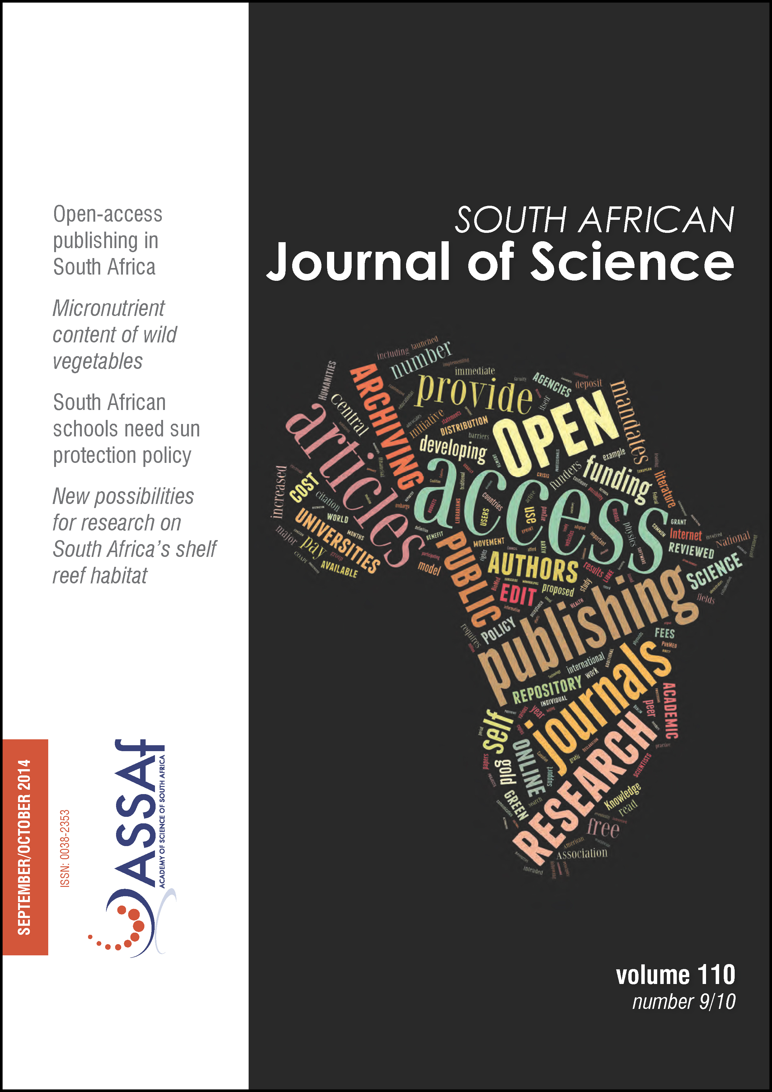 View Vol. 110 No. 9/10 (2014): South African Journal of Science