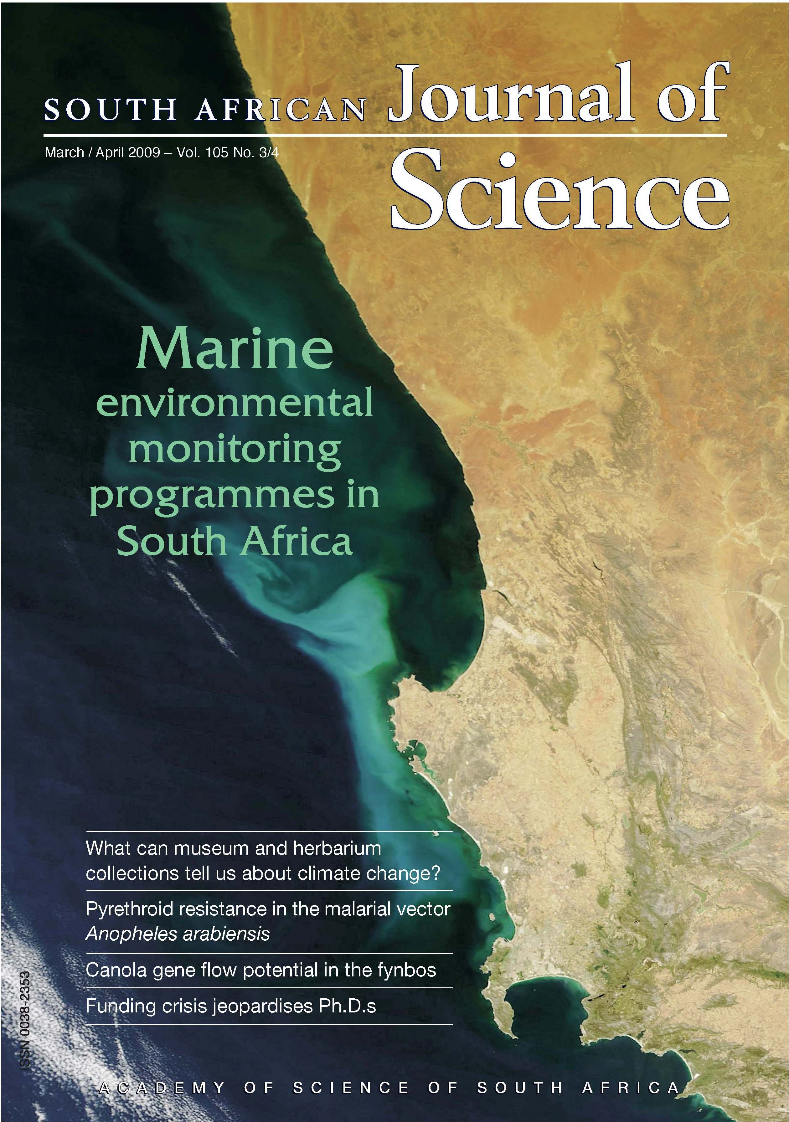 View Vol. 105 No. 9/10 (2009): South African Journal of Science